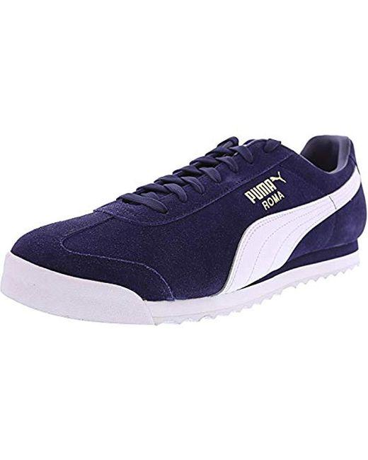 PUMA Blue Roma Suede Fashion Sneaker for men