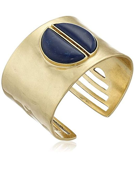 Lucky Brand - Metallic Gold And Lapis Bold Cuff Bracelet - Lyst