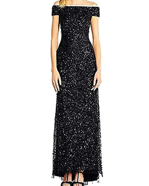 Lyst Adrianna Papell Off The Shoulder Crunchy Bead Gown In Black