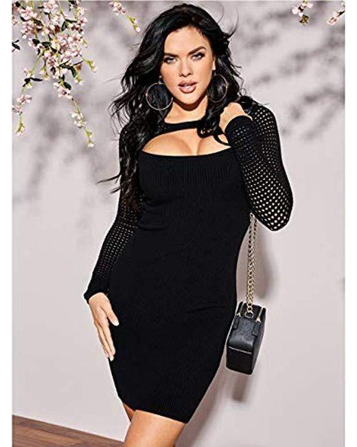 Lyst Guess Long Sleeve Allison Amory Sweater Dress In Black