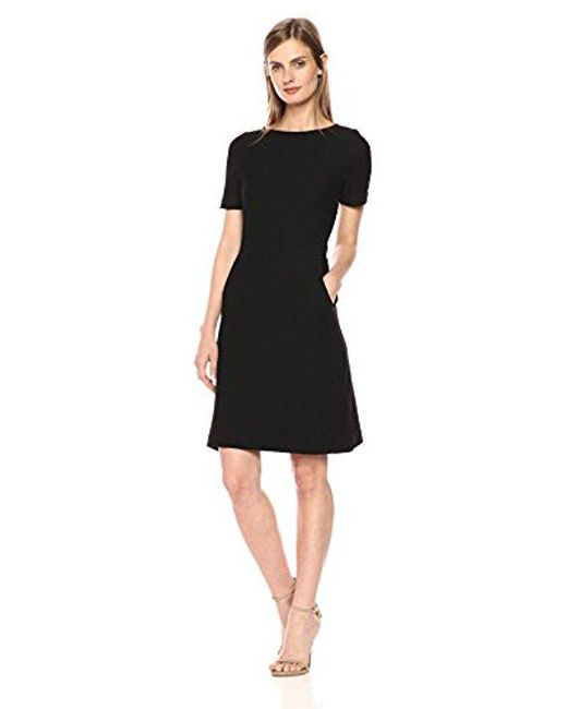 French Connection - Black Dixie Texture Cap Sleeve Dress - Lyst