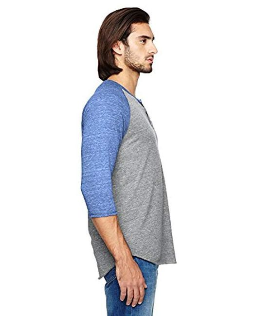 Alternative Apparel - Blue Raglan 3/4 Sleeve Henley Shirt for Men - Lyst