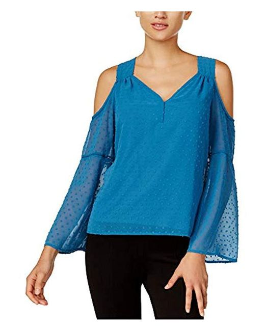 Kensie Blue Long Looped Swiss Dots Cold Shoulder Top