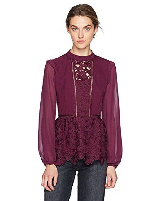 Kensie - Purple Smooth Stretch Crepe Floral Lace Ruffle Top - Lyst