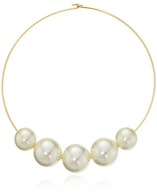 Kenneth Jay Lane - Metallic Gold Wire With 5 Graduated Pearl Necklace - Lyst