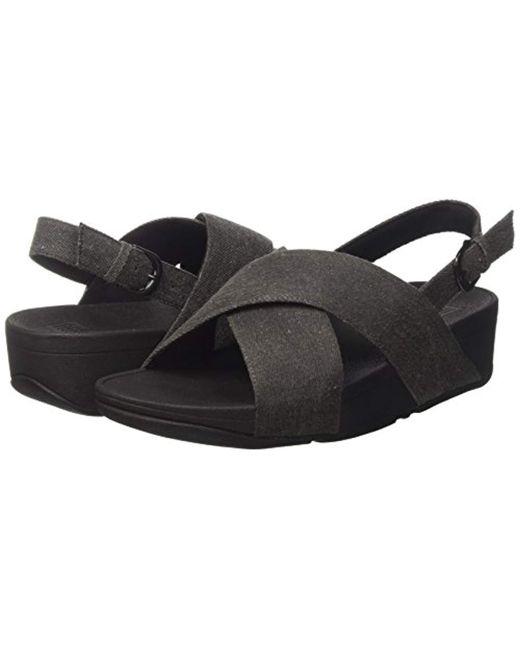 3835ad539 ... Fitflop - Black Lulu Cross Back-strap Sandals Shimmer Open Toe - Lyst  ...