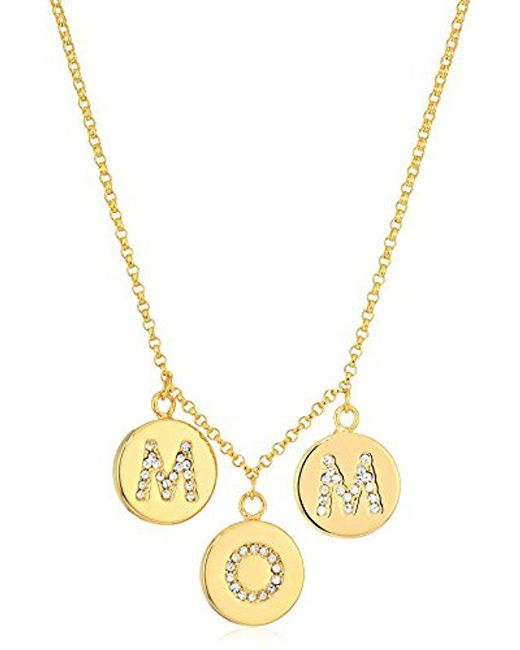 Kate Spade - Metallic Pave Mom Charm Necklace Mom Knows Best Pave Mom Charm Necklace Clear/gold Necklace - Lyst