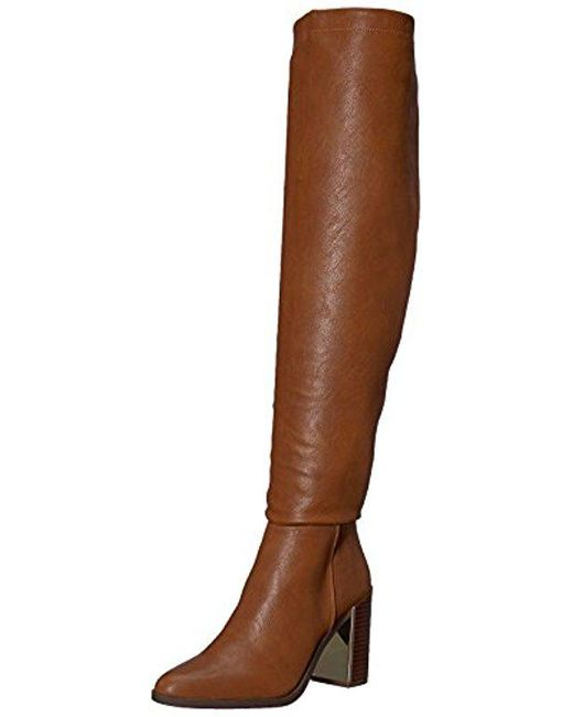 Nine West - Brown Wiseplay Synthetic Knee High Boot - Lyst ...