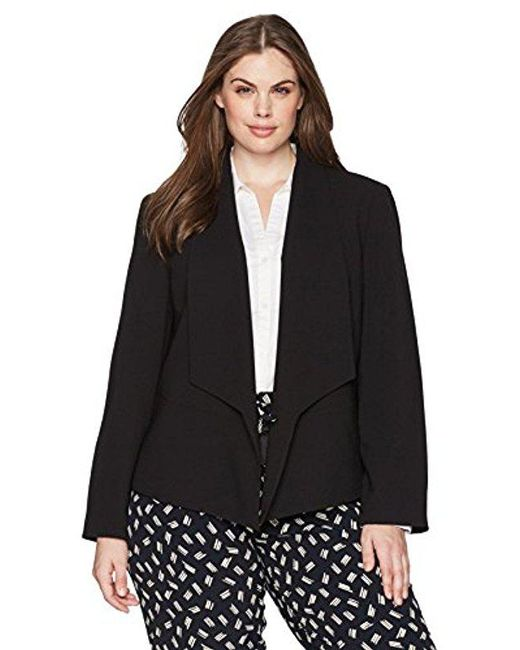 Nine West - Black Plus Size Solid Crepe Jacket With Shawl Collar - Lyst