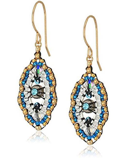 Miguel Ases - Blue Small Swarovski Center Oval Ruffle Contrast Drop Earrings - Lyst