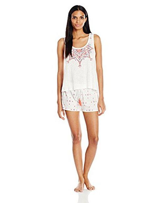 Lucky Brand - White Graphic Shorty Set - Lyst