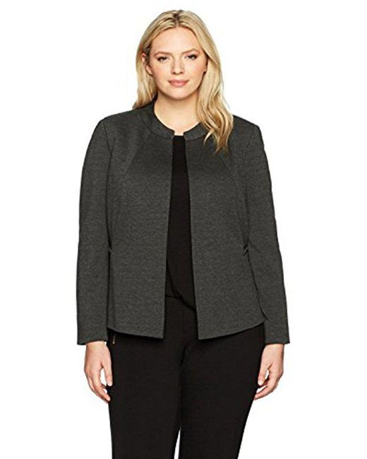 Kasper - Gray Plus Size Ponte Collarless Flyaway Jacket - Lyst