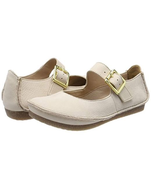 e92490e32 ... Clarks - Natural Janey June Ankle Strap Ballet Flats - Lyst ...