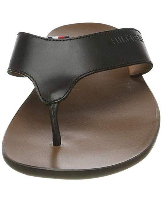 2f0a8fb56 ... Tommy Hilfiger - Black Hilfiger Leather Sandal Flip Flops for Men - Lyst  ...