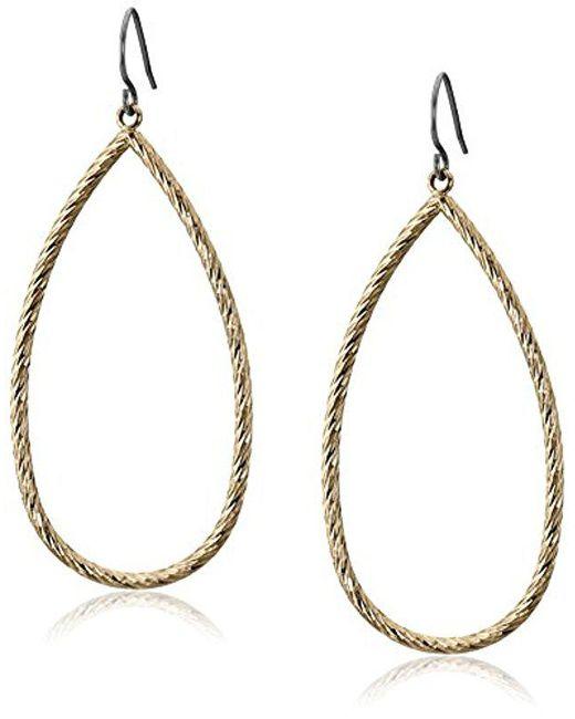 Kensie - Metallic Gold-plated Diamond Cut Tear Drop Earrings - Lyst