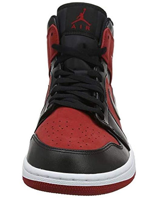 36f519acb4685a ... Nike - Red Air Jordan 1 Mid Sneakers Black white for Men - Lyst ...