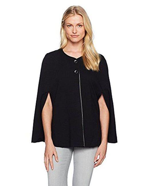 Nine West - Black Ponte Jacket With Leather Trim (2) - Lyst