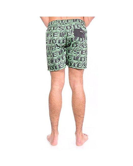 92522674ad ... DIESEL - Green Wave Printed 16 Inch Swim Trunk for Men - Lyst ...
