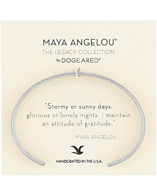 "Dogeared - Metallic Maya Angelou 2.0""attitude Of Gratitude Thin Engraved Cuff Bracelet - Lyst"