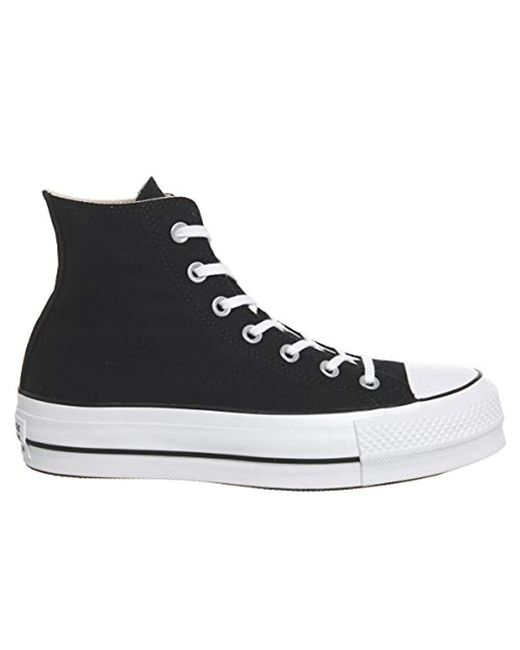 0891d5f9e102e Converse - Unisex Adults  Ctas Lift Hi Black White Top Trainers for Men -  Lyst ...