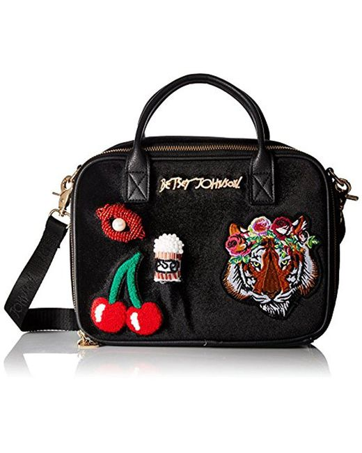 Betsey Johnson - Black Velvet With Appliques Lunch Tote - Lyst
