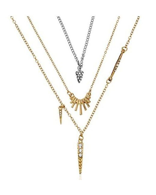 "BCBGeneration - Metallic ""little Layers"" Spike Fringe Layered Trio Pendant Necklace - Lyst"