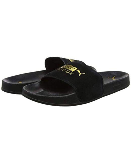 d7a99caf449c32 ... PUMA - Unisex Adults' Leadcat Suede Beach & Pool Shoes Black for Men ...
