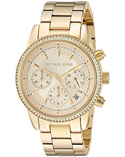 Michael Kors - Metallic 37mm Ritz Chronograph Watch - Lyst
