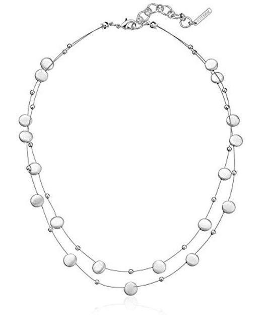 """Nine West - Metallic Classics Silver-tone 2 Row Stations Necklace, 16"""" + 2"""" Extender - Lyst"""