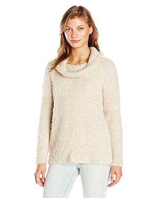 Calvin Klein - Natural Eyelash Cowl-neck Sweater - Lyst