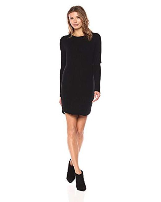 Monrow - Black Sweater Dress With Elbow Slash - Lyst
