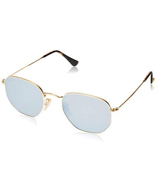 77456de493 Ray-Ban - Metallic Hexagonal Flat Lens Sunglasses In Gold Green Rb3548n 001  51 for ...