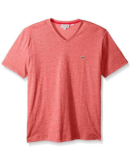 Lacoste - Red Fine Stripe Short Sleeve T-shirt, Th6810 for Men - Lyst