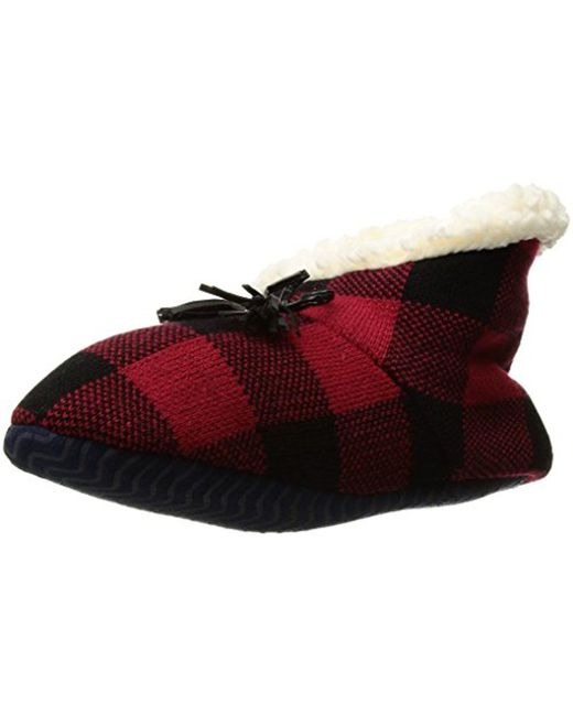 Sperry Top-Sider - Red Buffalo Plaid Sherpa Slipper Sock - Lyst