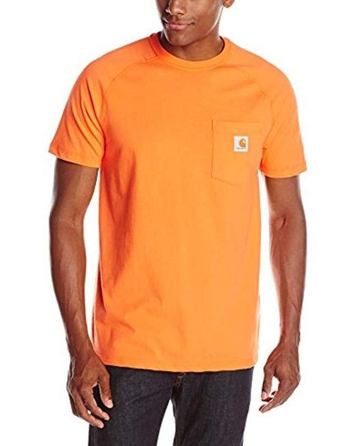 877ef3ad9 Carhartt - Orange Force Cotton Delmont Short Sleeve T-shirt for Men - Lyst  ...
