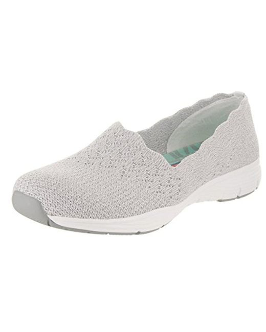 Skechers - Gray Seager-stat-scalloped Collar, Engineered Skech-knit Slip-on-classic Fit Loafer - Lyst