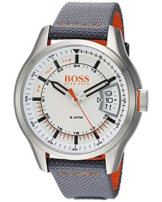 BOSS - Gray 'hong Kong Sport' Quartz Stainless Steel And Nylon Casual Watch, Color Grey (model: 1550015) for Men - Lyst