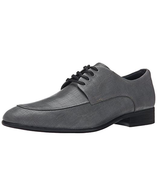 CALVIN KLEIN 205W39NYC - Gray Valient Textured Leather Oxford for Men - Lyst