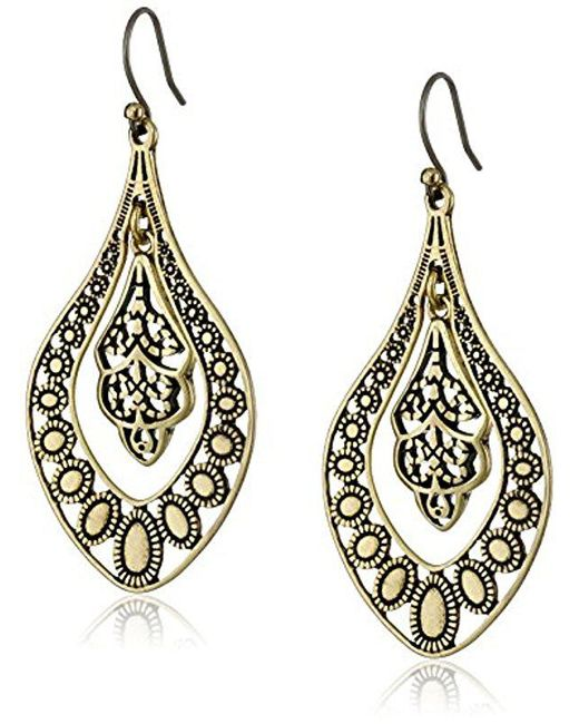 Lucky Brand - Metallic S Sahara Dust Filigree Oblong Earring - Lyst