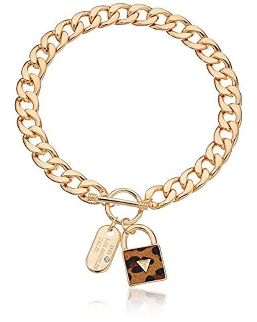 Guess - Metallic Basic Gold Dogtag And Padlock Pendant Necklace - Lyst