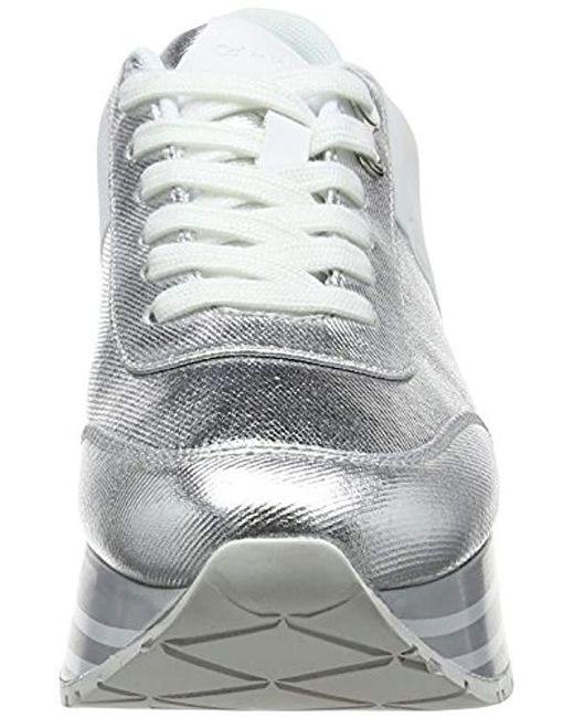 on sale 4801f 9e3fd calvin-klein-Silver-Svw-000-Carlita-Metal-Canvasflocking-Low-top-Sneakers.jpeg