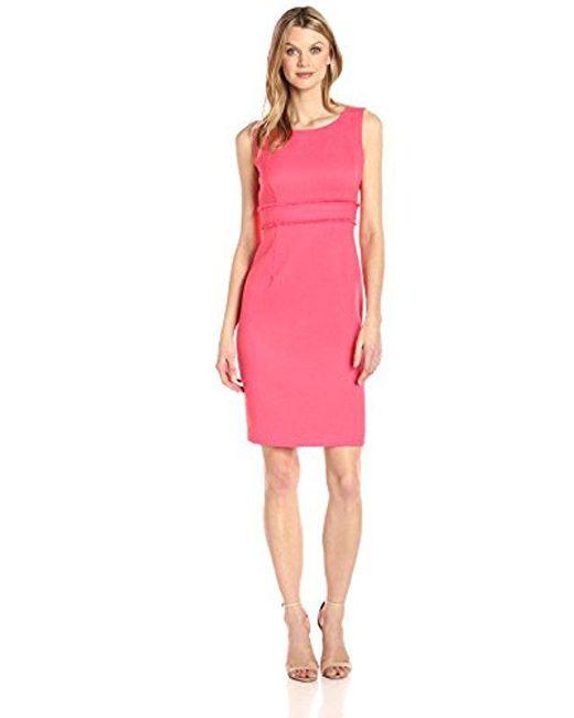 Kasper - Pink Textured Sheath Dress With Waist Treatment - Lyst