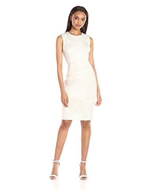 Calvin Klein - White Flocked Fabric Sheath Dress - Lyst