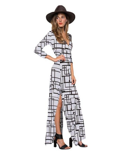 Clayton   Black Stevie 3/4 Sleeve Maxi Dress In Grey Box   Lyst