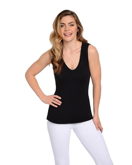 Lyssé | V Neck Hip Tank With Back Beautiful Technology In Black | Lyst