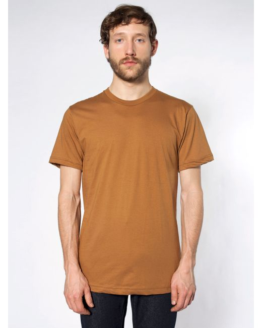 American apparel fine jersey crewneck t shirt in brown for for American apparel fine jersey crewneck t shirt