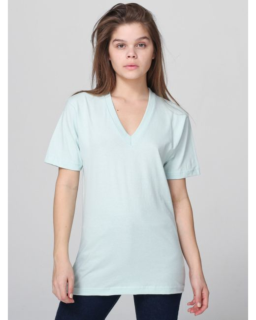 American Apparel Unisex Fine Jersey V Neck T Shirt In