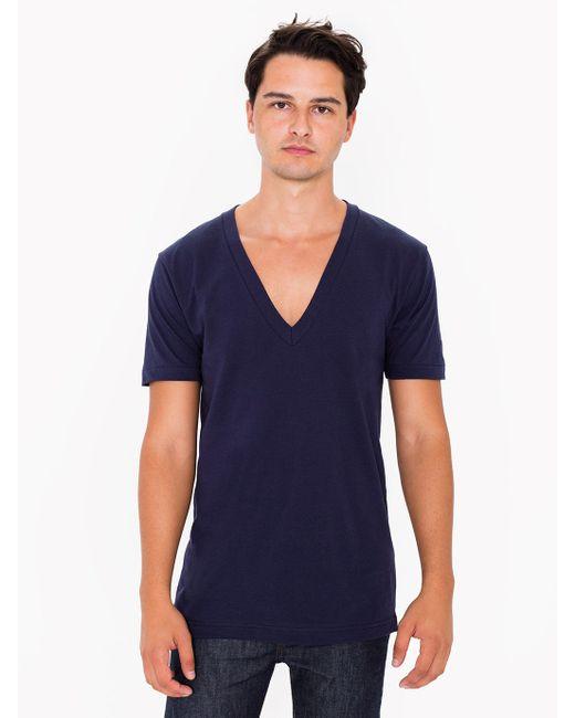 American Apparel Sheer Jersey Deep V Neck T Shirt In Blue