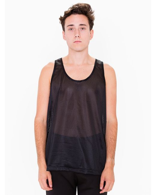American apparel poly mesh athletic tank in black for men for American apparel mesh shirt