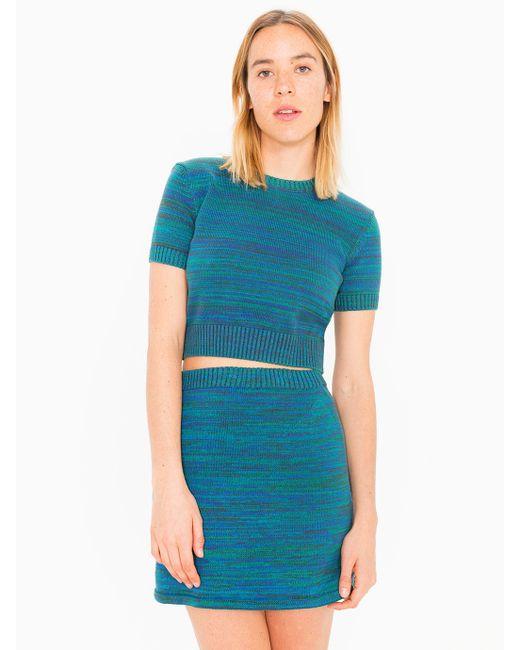 american apparel a line knit skirt in blue tropics lyst